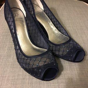 Adrianna Papell Navy mesh gem detail satin heels